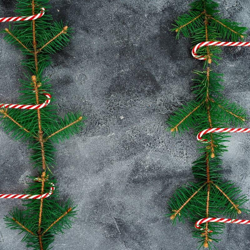 Grenskader van de winterboom en suikergoedriet wordt gemaakt op grijze achtergrond die Vlak leg Hoogste mening Kerstmis of Nieuwj stock afbeelding