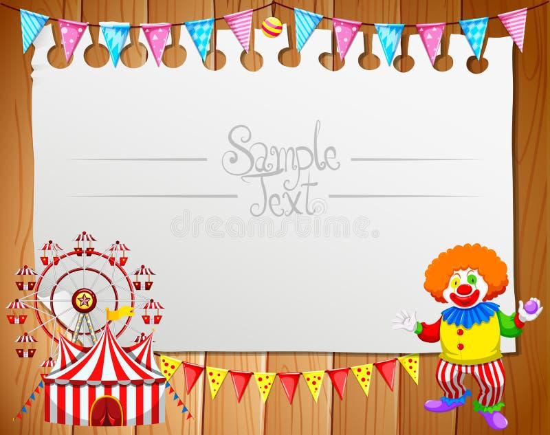 Grensontwerp met clown en circus royalty-vrije illustratie