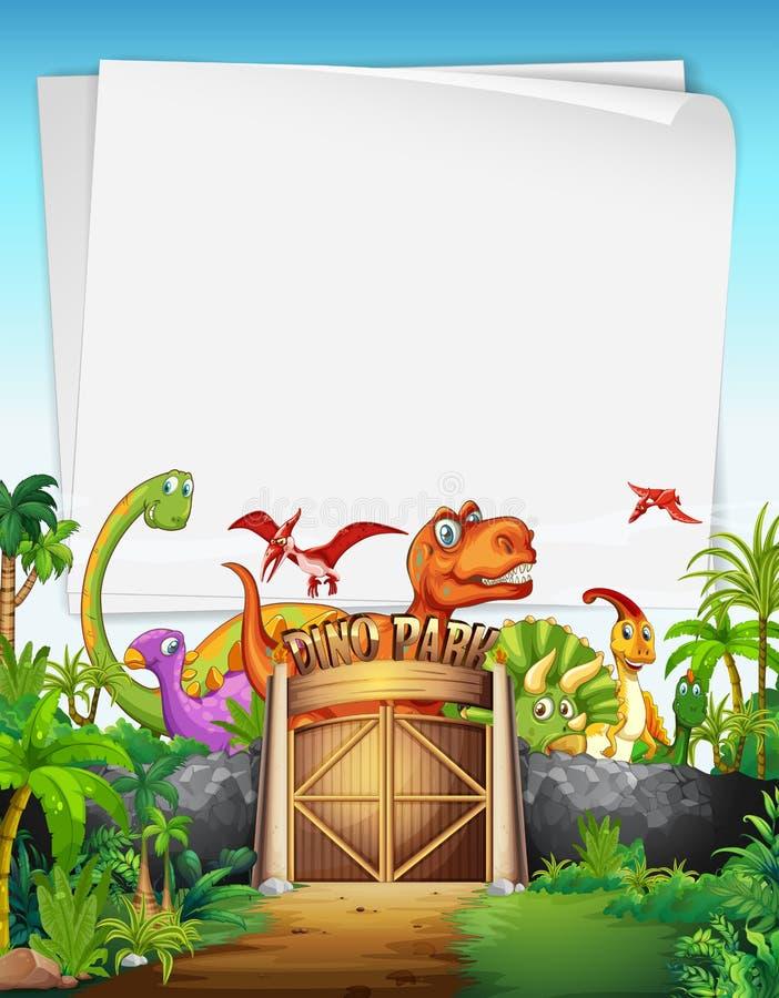Grensontwerp met dinosaurus bij het park stock illustratie
