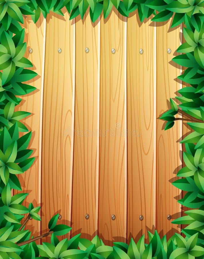 Grensontwerp met groene bladeren op houten muur stock illustratie