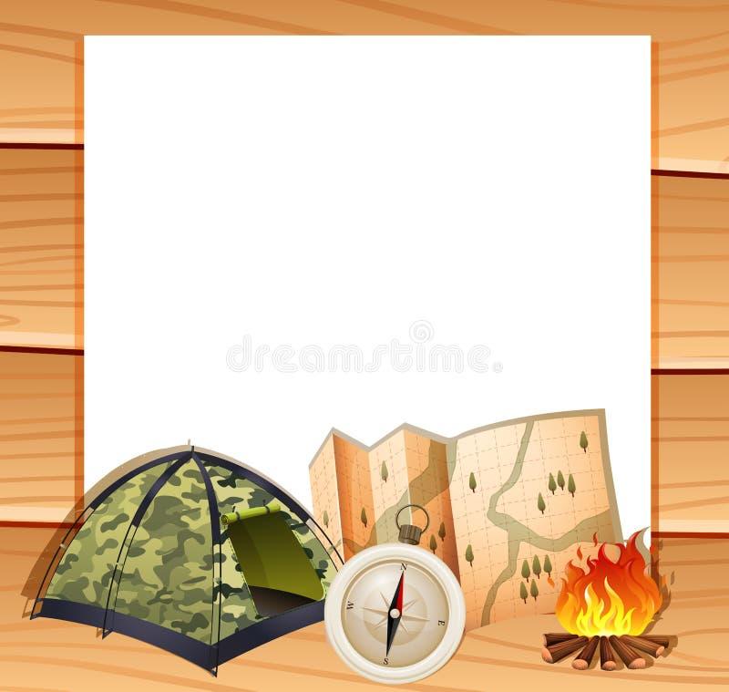 Grensontwerp met het kamperen materiaal stock illustratie