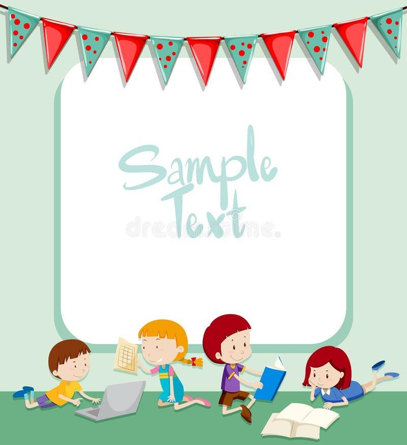 Grensontwerp met kinderen het werken stock illustratie