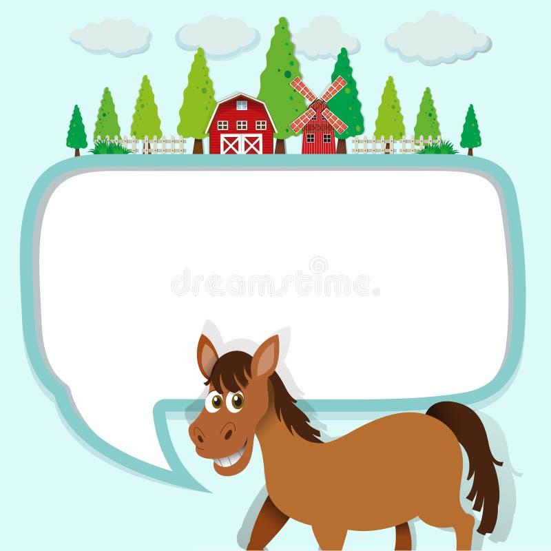 Grensontwerp met paard en landbouwbedrijf vector illustratie