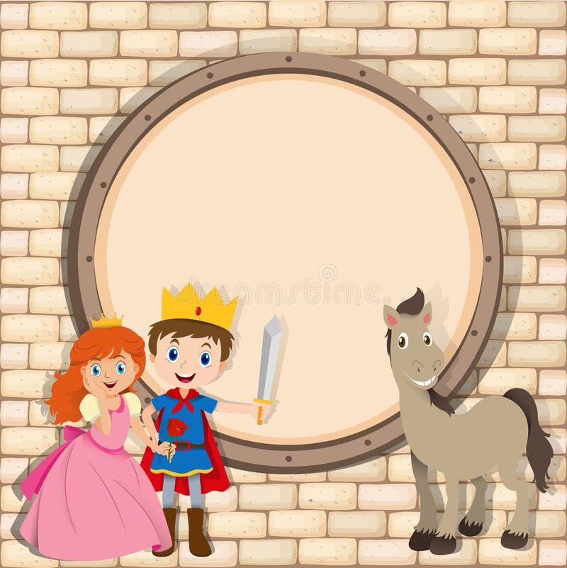 Grensontwerp met prins en prinses vector illustratie
