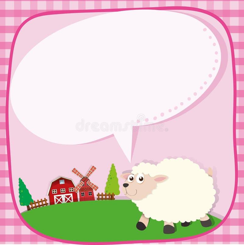 Grensontwerp met schapen op het landbouwbedrijf stock illustratie