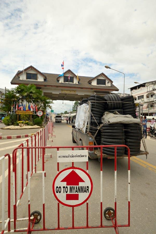 Grensovergang in Mae Sod Thailand royalty-vrije stock fotografie