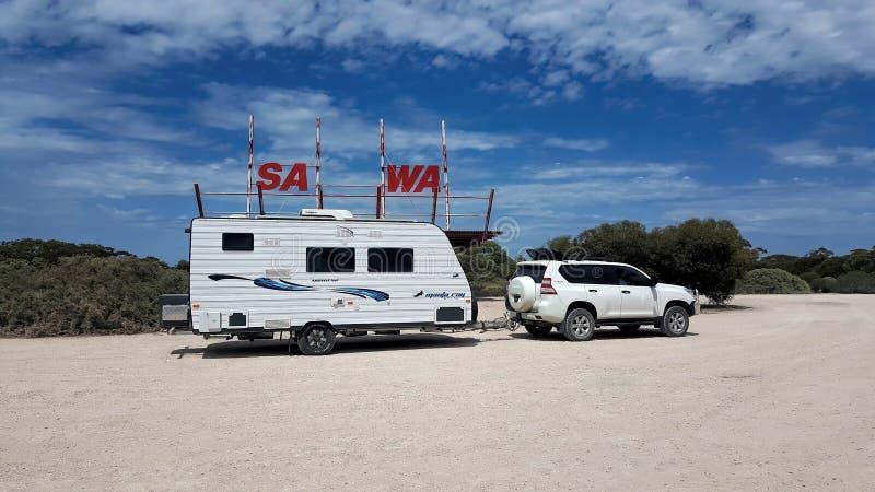 Grensovergang van Zuid-Australië aan Westelijk Australië stock fotografie