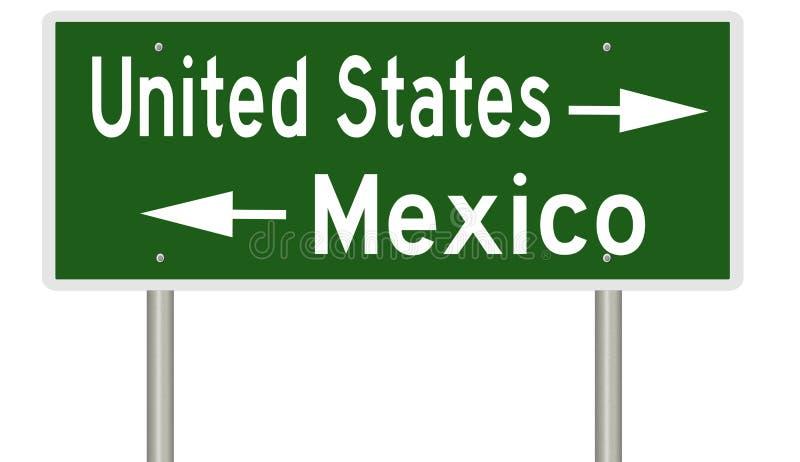 Grensteken voor Verenigde Staten en Mexico stock illustratie
