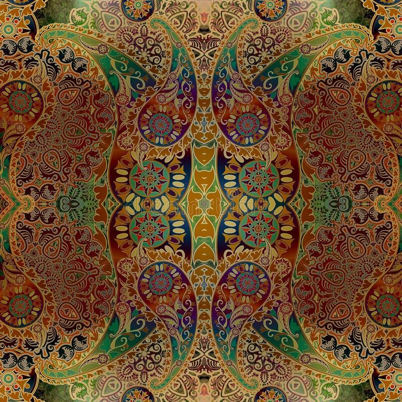 Grenu, fond oriental floral d'ornement d'aquarelle illustration de vecteur