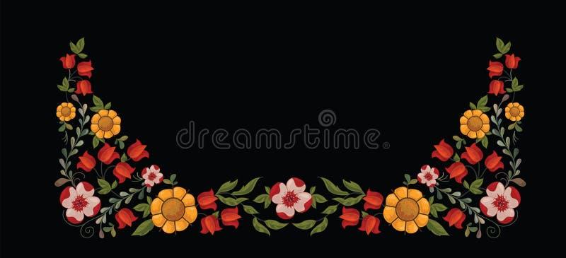 Grenze mit dekorativen gelben und roten Blumen lizenzfreie abbildung