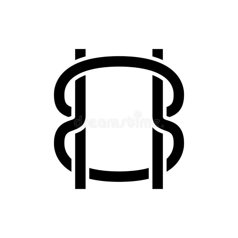 Grenze ropes schwarzes Ikonenkonzept Grenze ropes flaches Vektorsymbol, Zeichen, Illustration stock abbildung