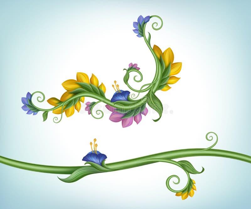 Feldgrenze mit Blumen und Grünblättern stock abbildung