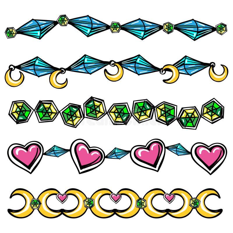 Grenzen mit Mondherzen und -diamanten stock abbildung