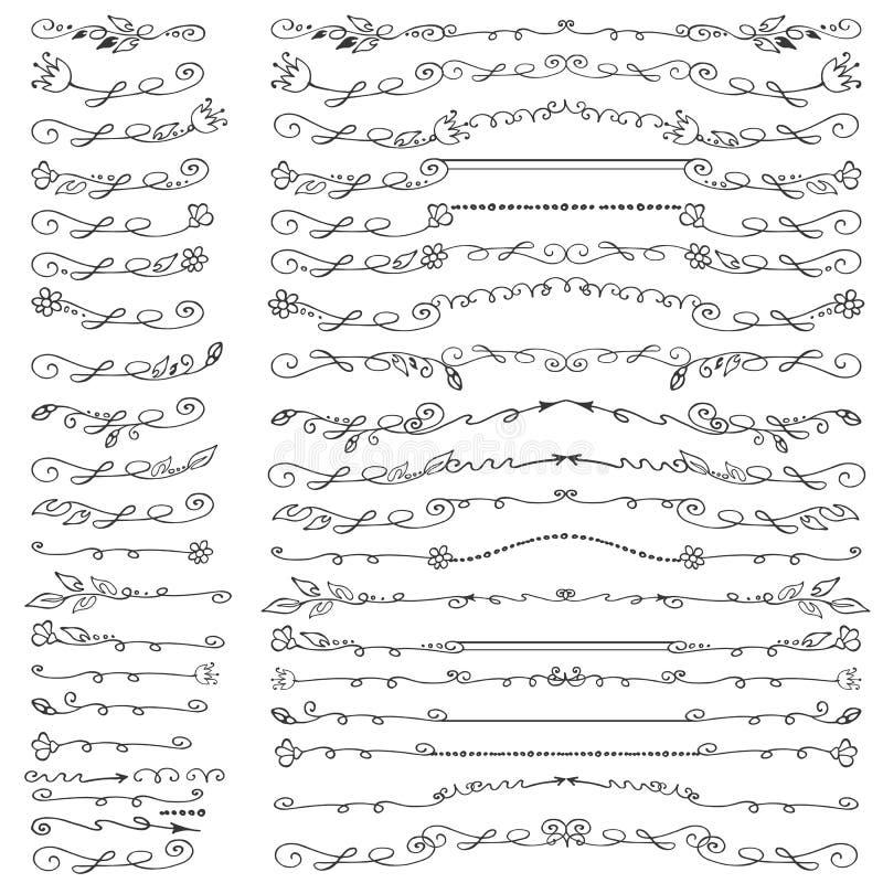 Grenzen van de krabbel de bloemenlijn, verdelers, geplaatste borstels wijnoogst vector illustratie