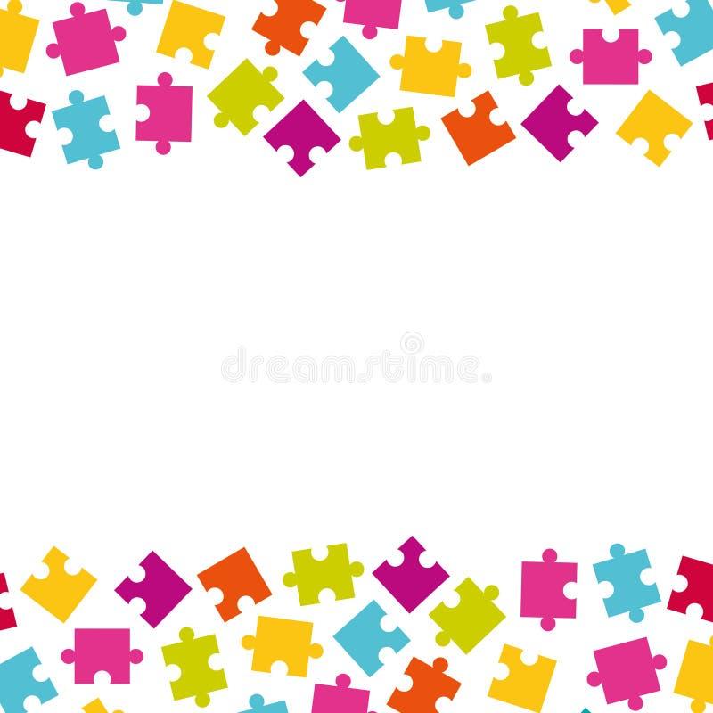 Grenzen van kleurrijke puzzelstukken Kader van kleurrijke puzz stock illustratie