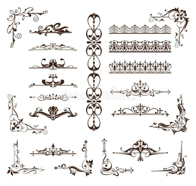 Grenzen van ontwerp de uitstekende ornamenten, kaders, hoeken vector illustratie