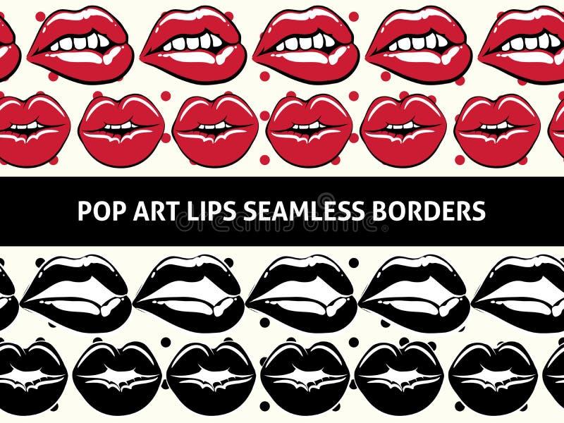Grenzen van pop-art de naadloze lippen royalty-vrije illustratie