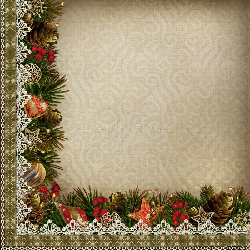 Grenzen von Weihnachtsdekorationen mit Spitze auf Weinlesehintergrund vektor abbildung