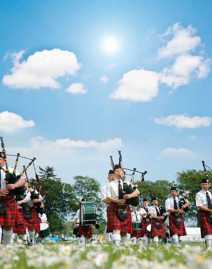 Grenzendes schottisches Band stockfoto