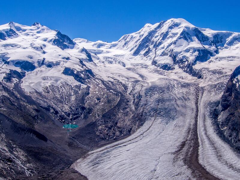 Grenzgletscher glacier and Dufourspitze the highest Swiss mountain - canton of Valais Switzerland. Grenzgletscher glacier and Dufourspitze the highest Swiss stock images