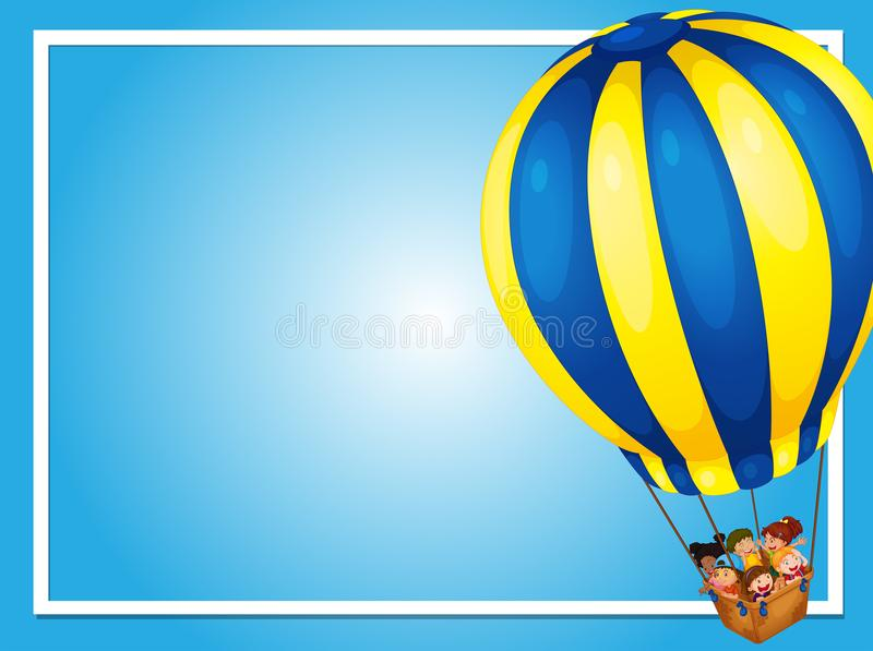 Grenzschablone mit Kindern im Ballon vektor abbildung