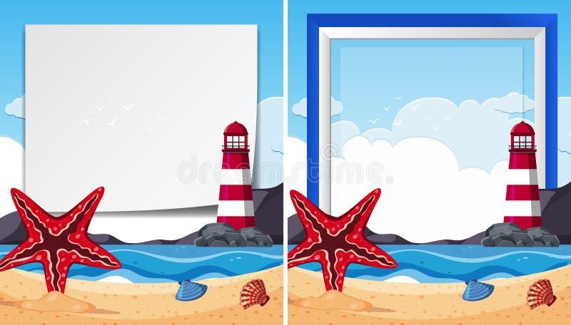 Grenzschablonen mit Starfish an der Küste lizenzfreie abbildung