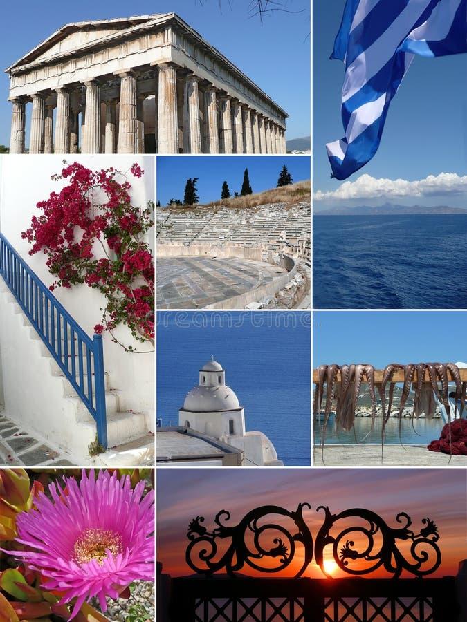 Grenzstein-Collage von Griechenland stockfotos