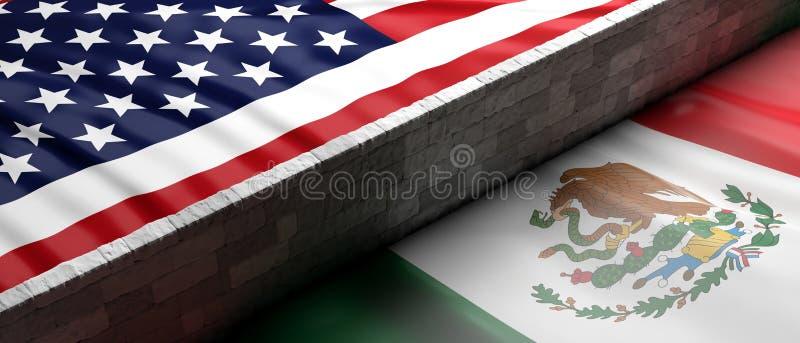 Grenzwand zwischen US von Amerika- und Mexiko-Flaggen Abbildung 3D vektor abbildung