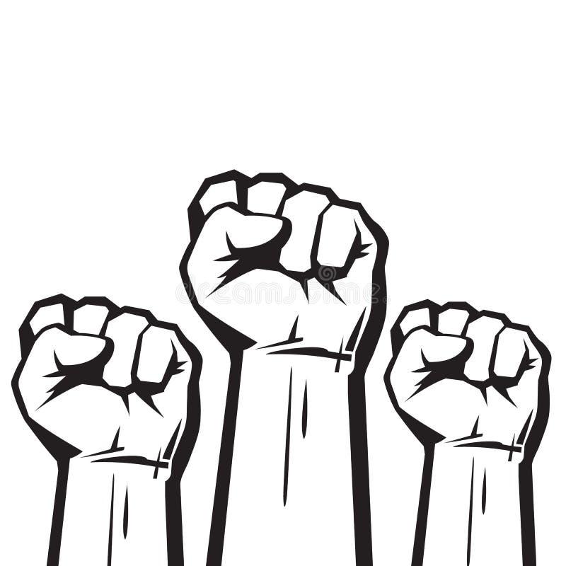 Grep hårt om nävar som lyfts i protestvektor stock illustrationer