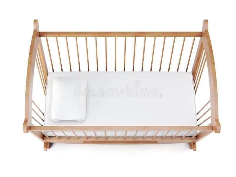 Greppia di legno isolata su fondo bianco rappresentazione 3d illustrazione vettoriale