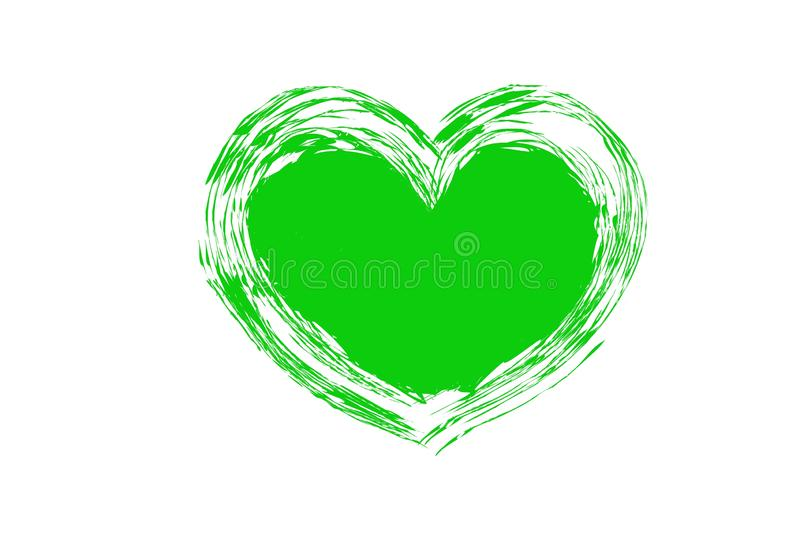 Green heart shape logo on white background. Grern green heart shape logo white background love sign symbol texture simple design drawing concept wedding card royalty free stock photo