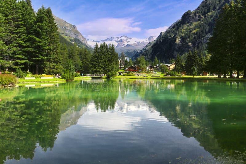 Gressoney圣徒吉恩湖  阿尔卑斯,意大利 图库摄影