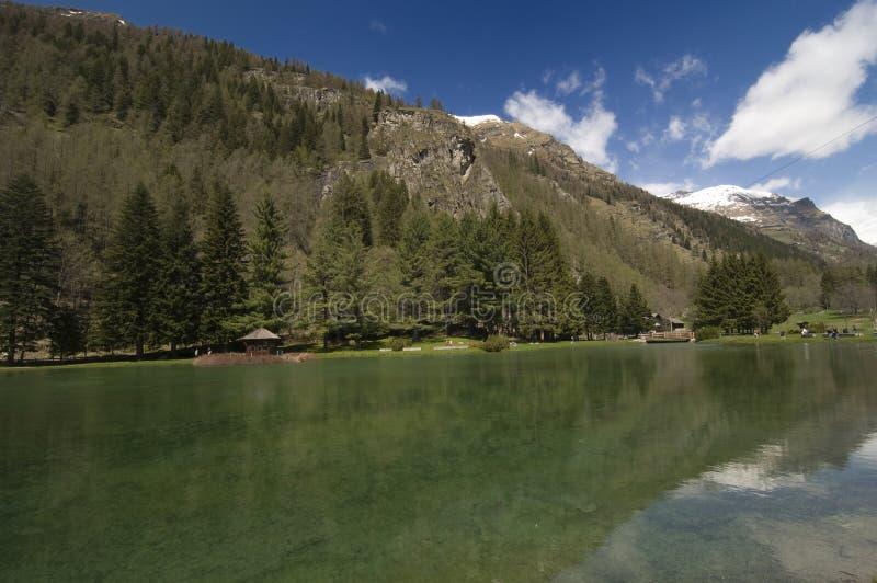 Gressoney圣徒Jean's湖 库存照片