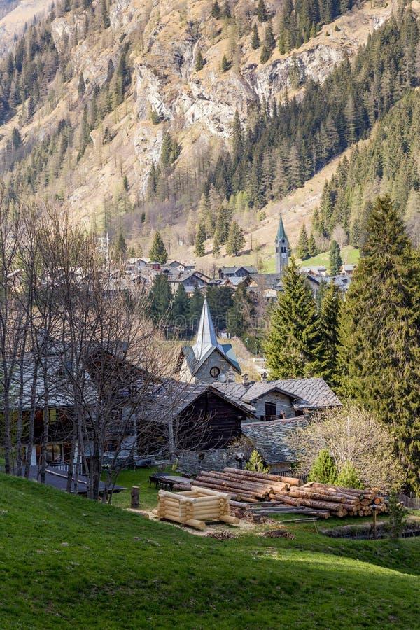 Gressoney, Aosta-Vallei royalty-vrije stock afbeeldingen