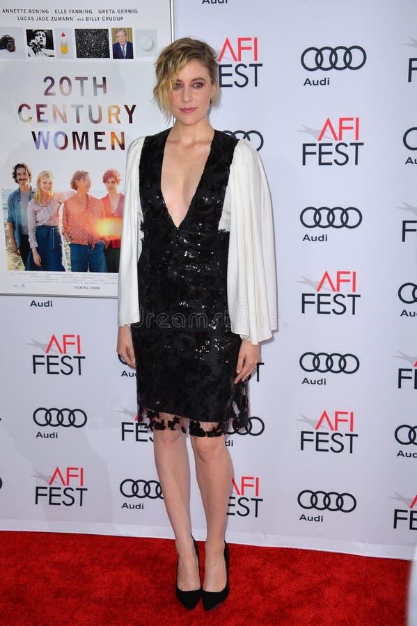 Greta Gerwig. LOS ANGELES, CA. November 16, 2016: Actress Greta Gerwig at the gala screening for 20th Century Women at the TCL Chinese Theatre stock photos