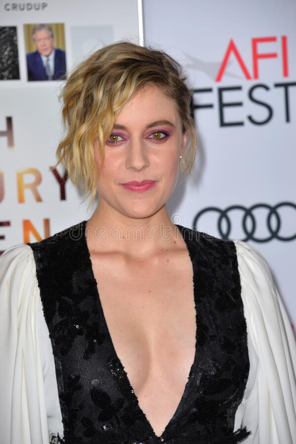 Greta Gerwig. LOS ANGELES, CA. November 16, 2016: Actress Greta Gerwig at the gala screening for 20th Century Women at the TCL Chinese Theatre stock photography
