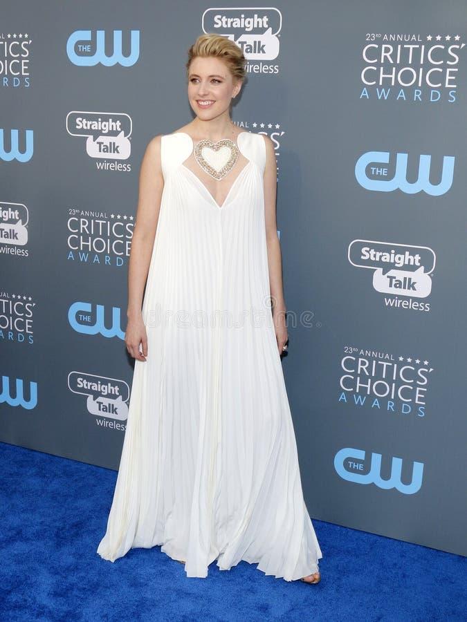 Greta Gerwig. At the 23rd Annual Critics` Choice Awards held at the Barker Hangar in Santa Monica, USA on January 11, 2018 royalty free stock images