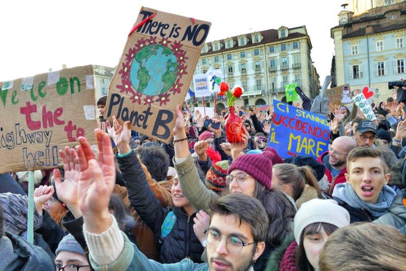 Greta Thunberg ontmoet italiaanse activisten tegen klimaatverandering stock afbeelding