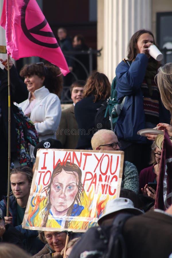 Greta Thunberg Placard at Extinction Rebellion Protest. stock photography