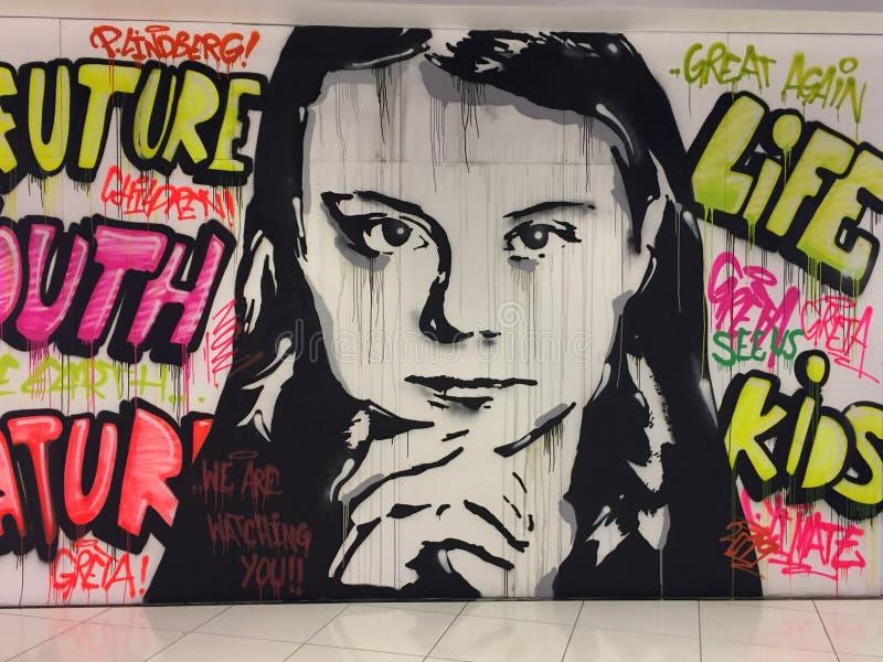 Greta Thunberg. Wall painting depicting Greta Thunberg.  Artist: Patrik Lindberg, Örebro, Sweden stock images