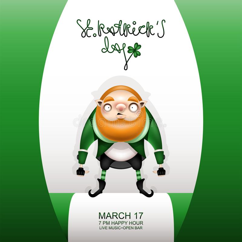 Gretting green card and big gnome royalty free illustration