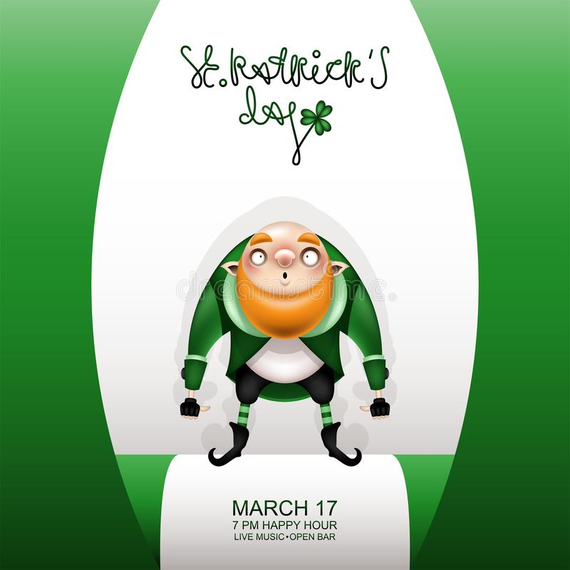 Gretting green card and gnome bald royalty free illustration