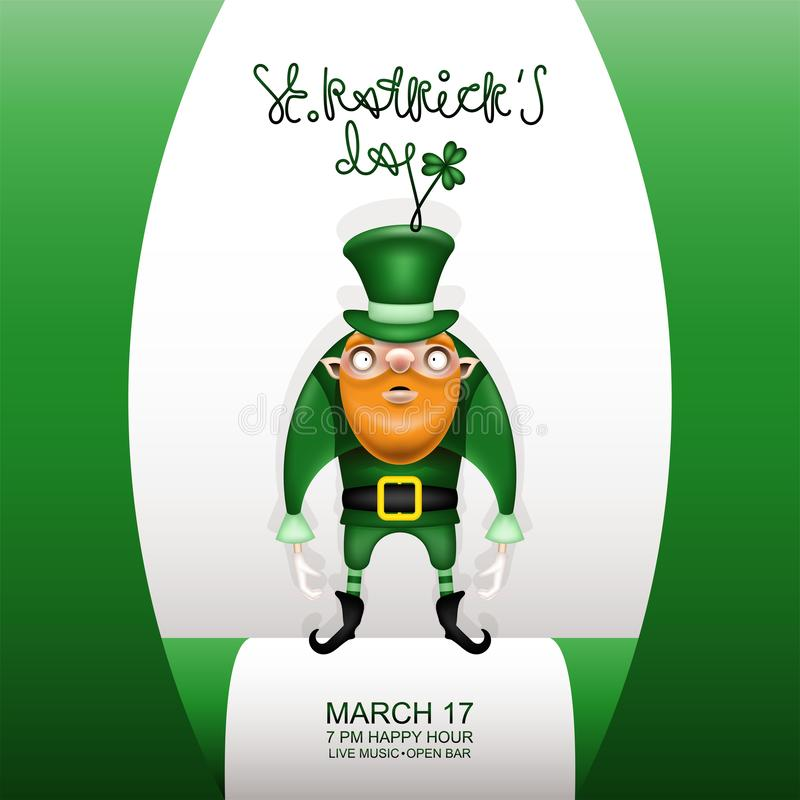 Gretting green card and gnome and green hat vector illustration