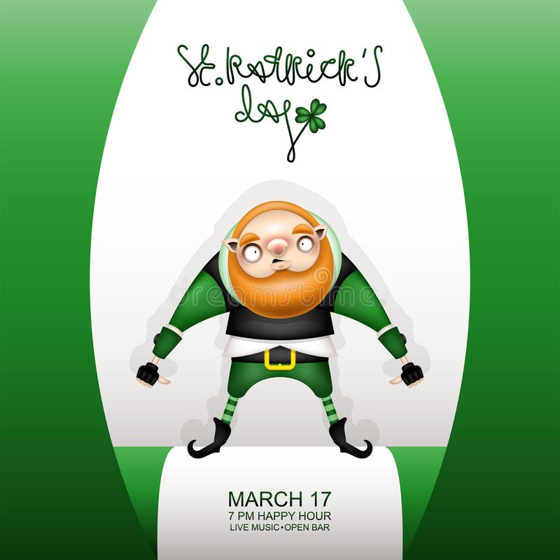 Gretting green card and gnome royalty free illustration