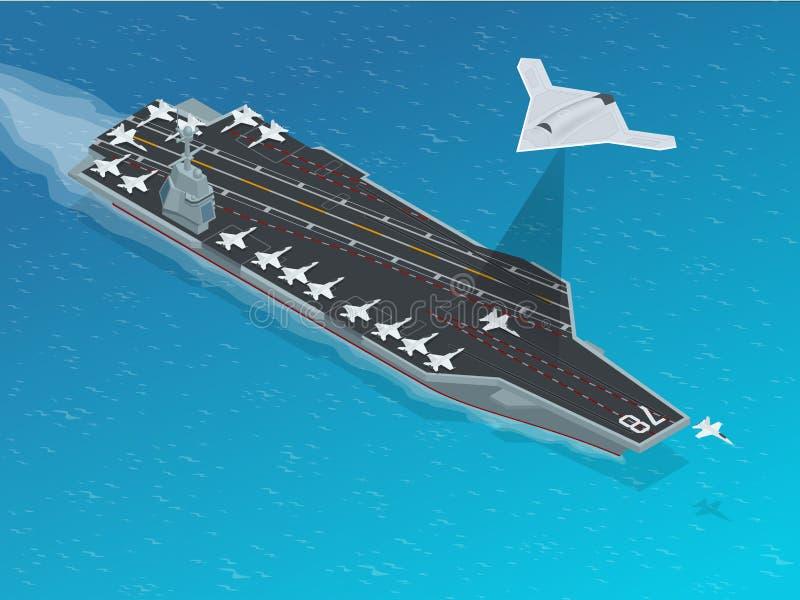 Greve-bombardeiro isométrico da longa distância ilustração stock