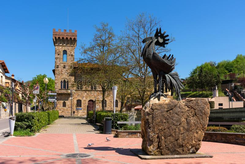 Greve in Chianti, Italy - April 21, 2018: The statue of a black rooster, the symbol of Chianti, Tuscany, Italy.  royalty free stock photos