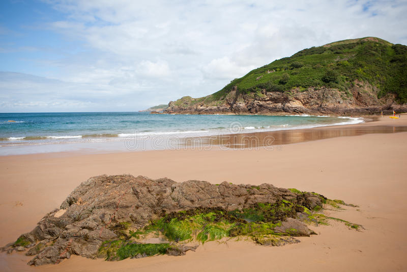 Greve de Lecq Beach, Jersey, isole del canale fotografia stock