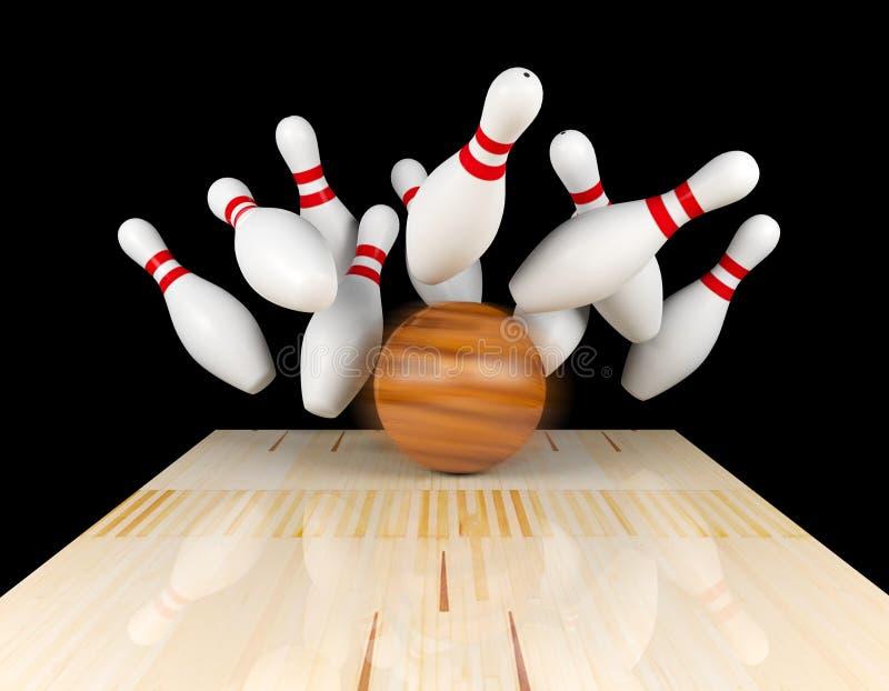 Greve de rolamento, pino dispersado e bola de boliches na pista do boliches com borrão de movimento na bola de boliches ilustração royalty free