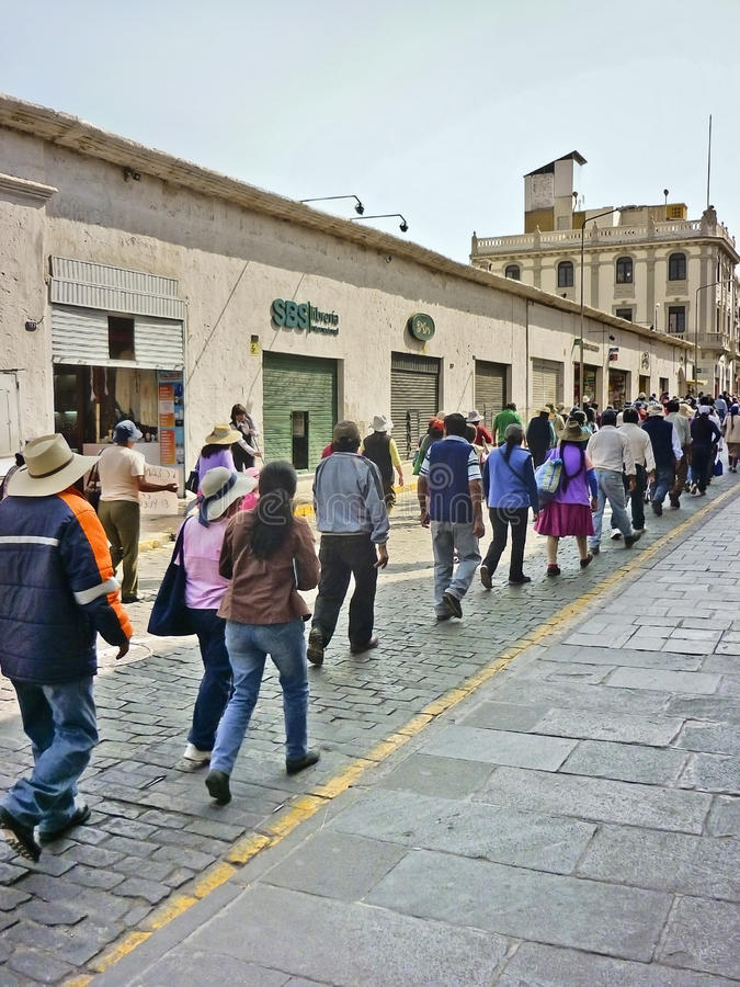 Greve dos trabalhadores no Peru foto de stock royalty free