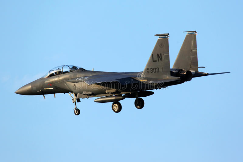 Greve Eagle 91-0303 de McDonnell Douglas F-15E que aterram em Zhukovsk foto de stock